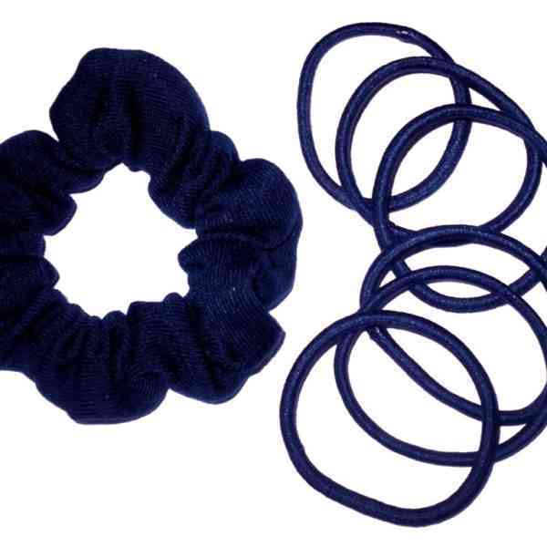 Scrunchie and bobble school set in navy