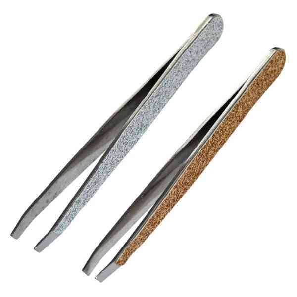 1pc diagonal ended tweezers with glitter finish. Gold